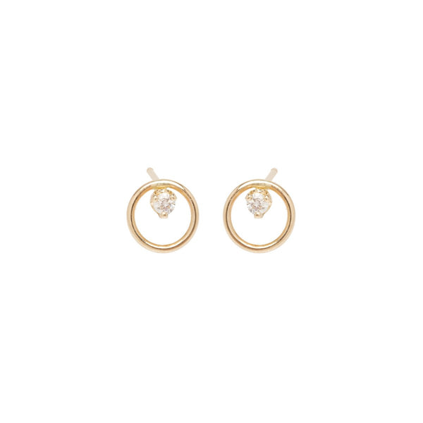 14K CIRCLE DIAMOND PRONG STUDS