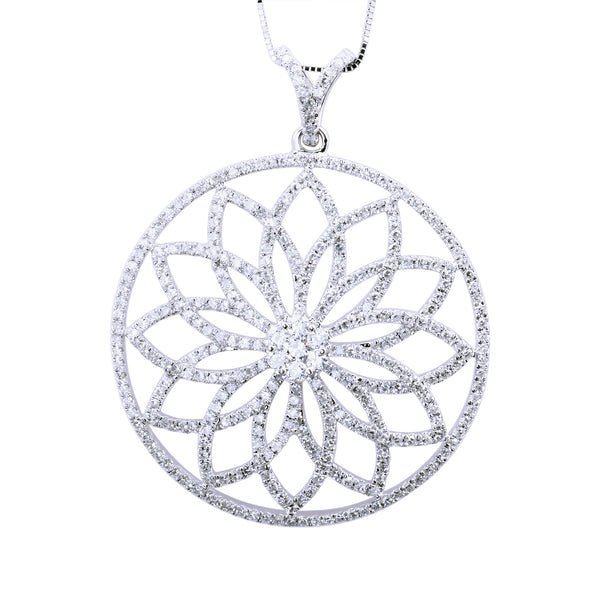 1.69 CTW Diamond Flower Circle Pendant