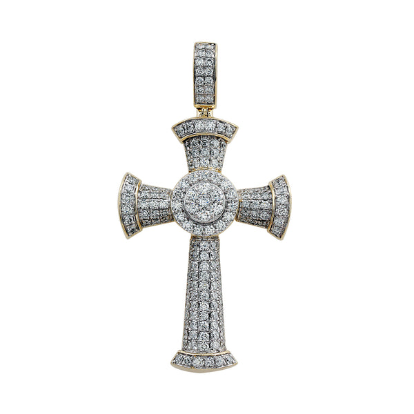 14K Yellow Gold, 2.00CTTW Pave Diamond Cross