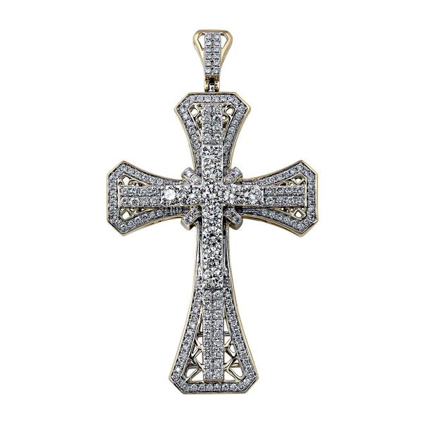 14K Yellow Gold 5.00CTTW Lab Grown Diamond Cross