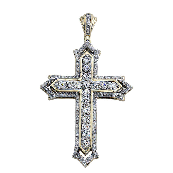 14K Yellow Gold 6.00CTTW Lab Grown Diamond Pavé Cross