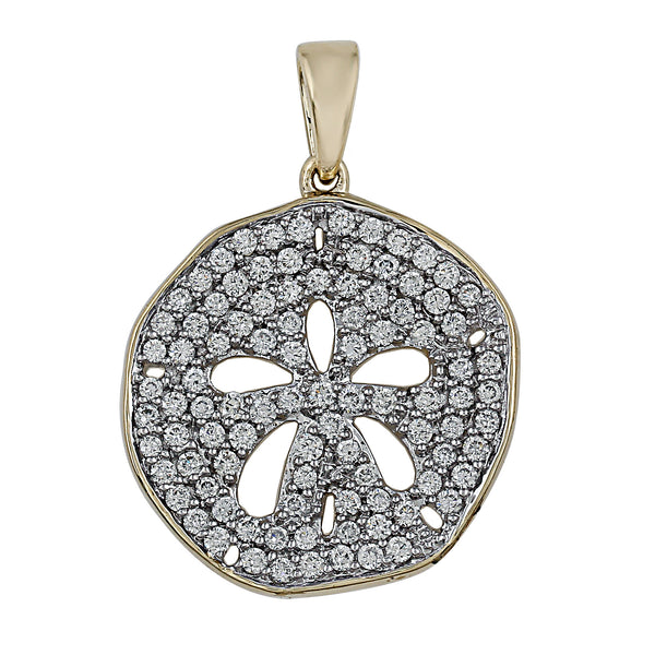 14K Yellow Gold 1.00CTTW Lab Grown Diamond Sand Dollar Pav̩ Pendant
