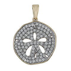 14K Yellow Gold 1.00CTTW Lab Grown Diamond Sand Dollar Pavé Pendant