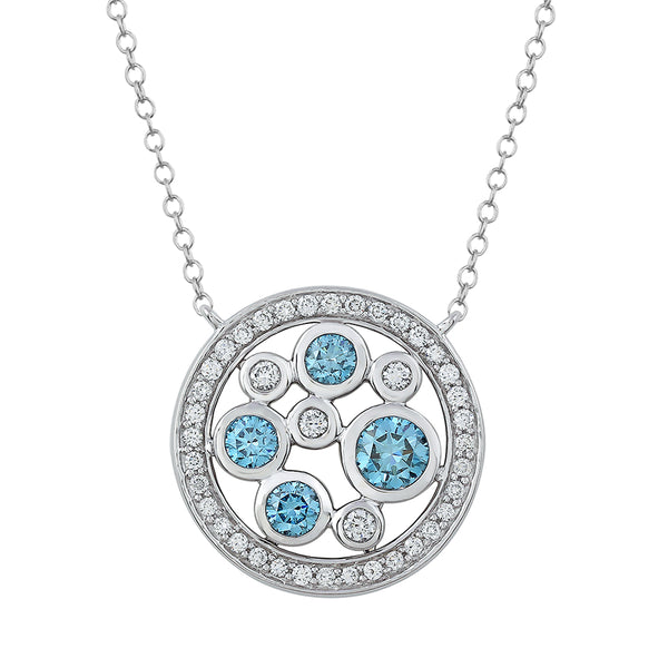 14K White Gold 1.47CTTW Lab Grown Diamond Blue and White Circle Pendant