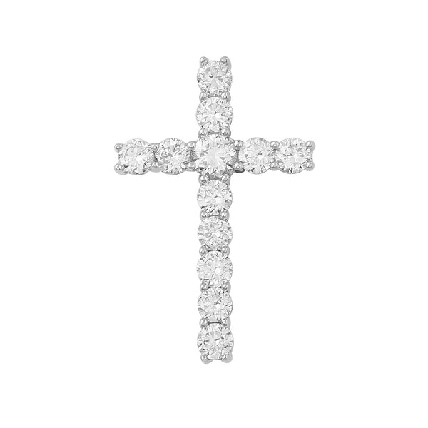 14K White Gold 1.00CTTW Lab Grown Diamond Cross