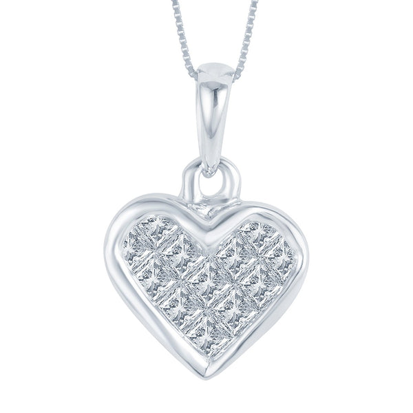 14K White Gold Diamond Heart Pendant (.25 ct. tw.)
