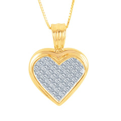 1.00 CTW Diamond Heart Pendant 14K Yellow Gold