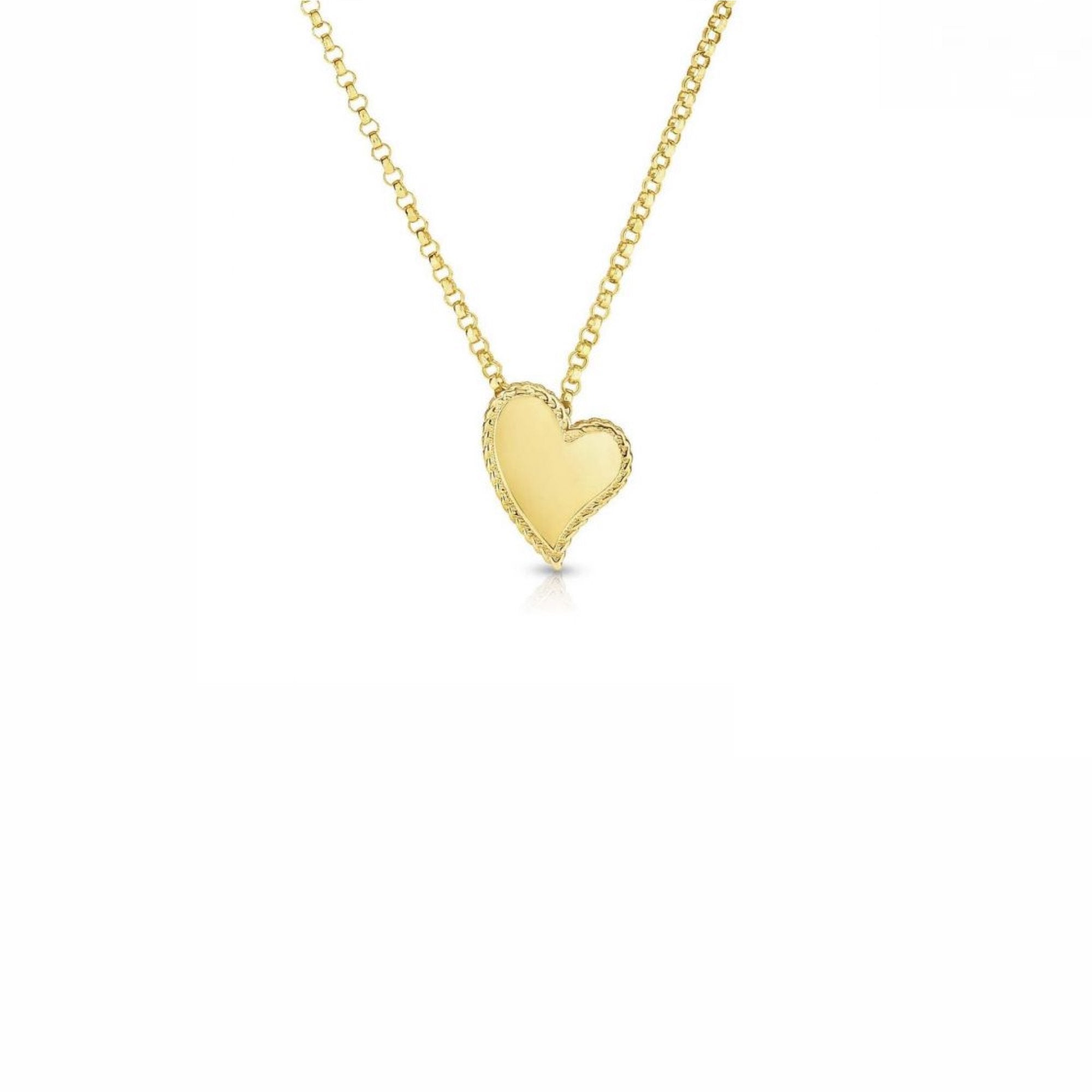 18K Yellow Gold Princess Heart Small Pendant