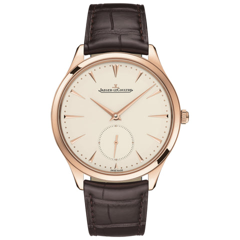 Master Ultra Thin Beige Dial Black Leather Men