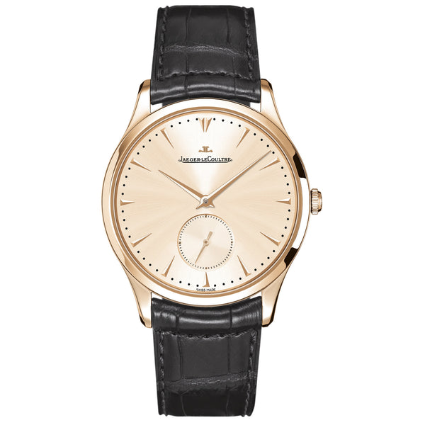 Master Grand Ultra Thin Off White Dial 18kt Rose Gold Dark Brown Leather Men's Watch