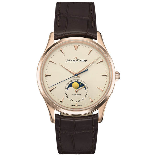 Master Ultra Thin Moonphase Ivory Dial Leather Men's Watch