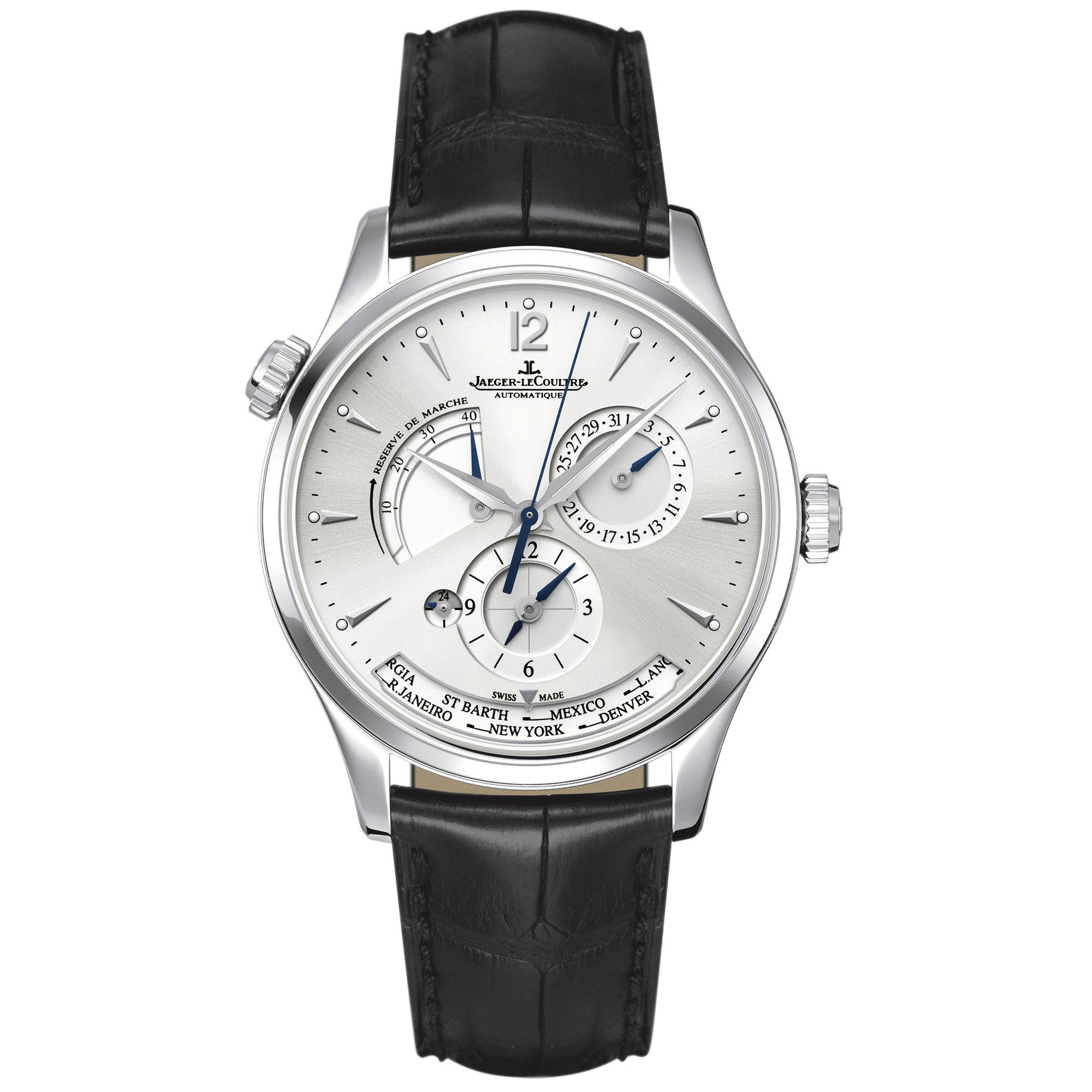 Master Geographic Silver Dial Black Leather Men's Watch