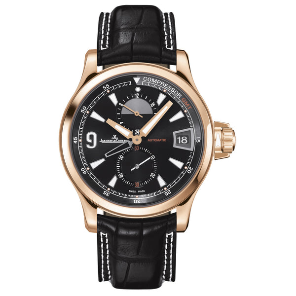 Master Compressor GMT Black Dial 18kt Rose Gold Leather Men's Watch