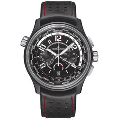 Amvox Worldtime Automatic Chronograph Black Dial Black Leather Men's Watch