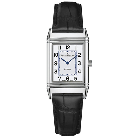 Reverso Silver Dial Black Ostrich Leather Strap Unisex Watch