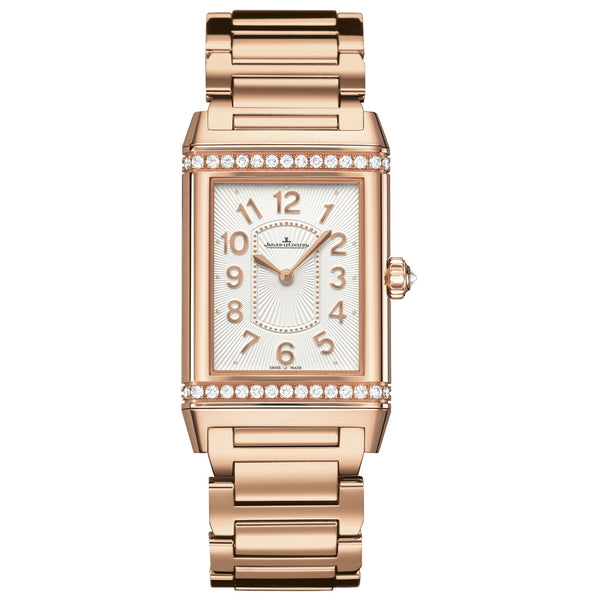 Grande Reverso Silver Dial 18kt Rose Gold Ladies Watch