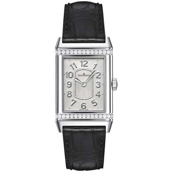 Grande Reverso Silver Dial Black Leather Ladies Watch
