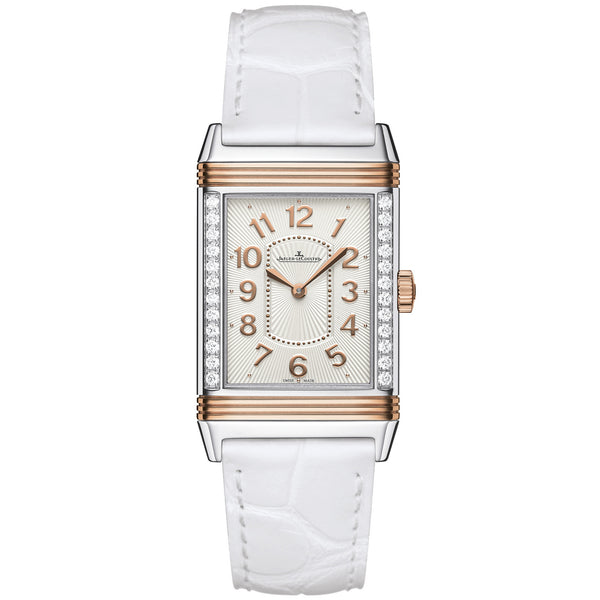 Grande Reverso Ultra Thin Silver Dial 18kt Rose Gold White Leather Ladies Watch
