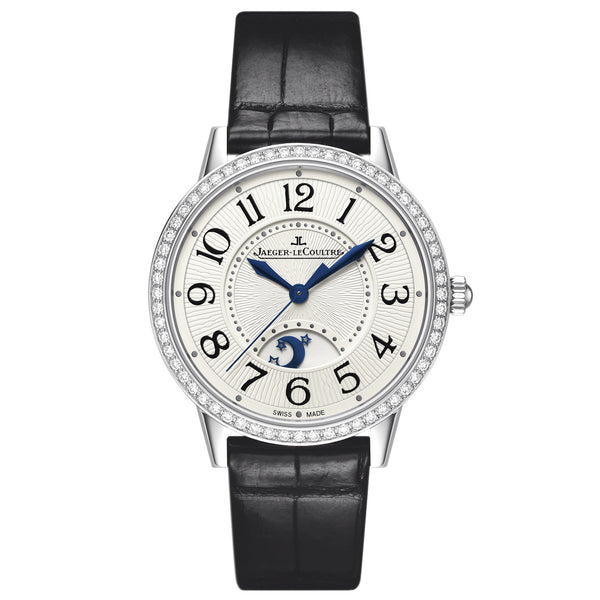 Rendez-vous Day and Night Silver Dial Stainless Steel Diamond Black Leather Ladies Watch