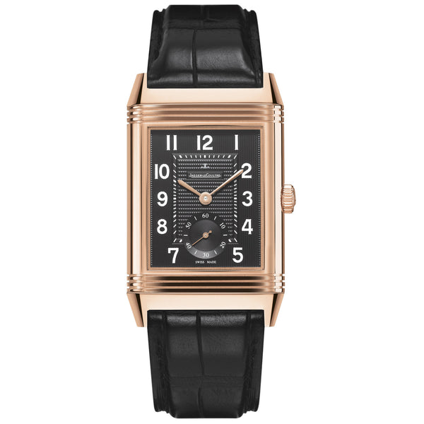 Grande Reverso Black Dial 18kt Rose Gold Black Alligator Leather