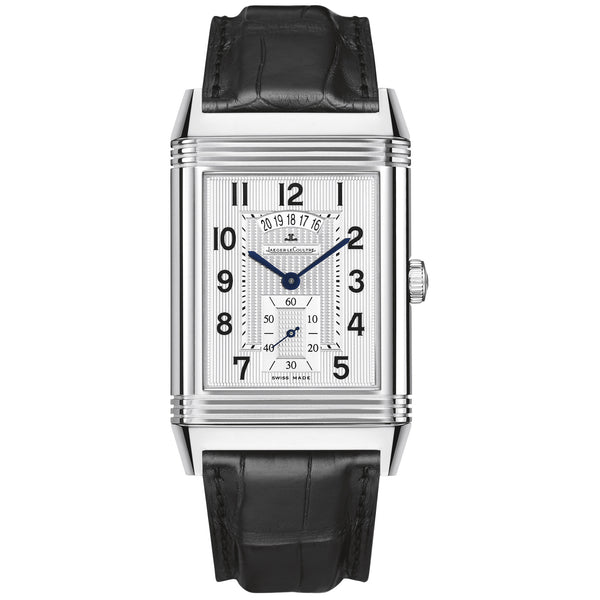 Grande Reverso Duo White Satin Dial Black Leather Men's Watch