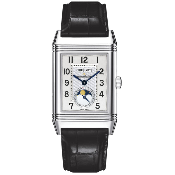 Grande Reverso Calendar Silver Dial Black Leather Men's Watch
