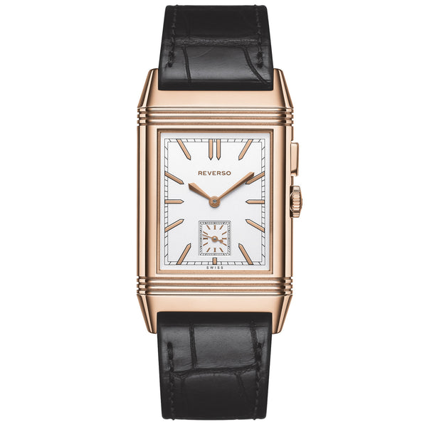 Grande Reverso Silver Dial 18kt Pink Gold Men's Watch
