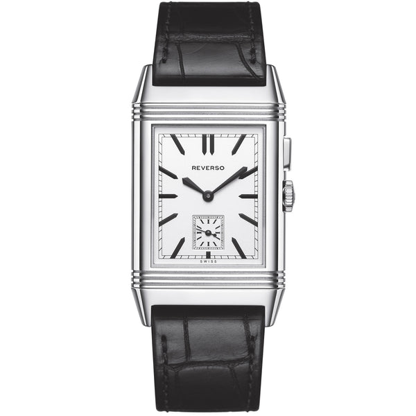 Grande Reverso Silver Dial Stainless Steel Black Leather Men's Watch