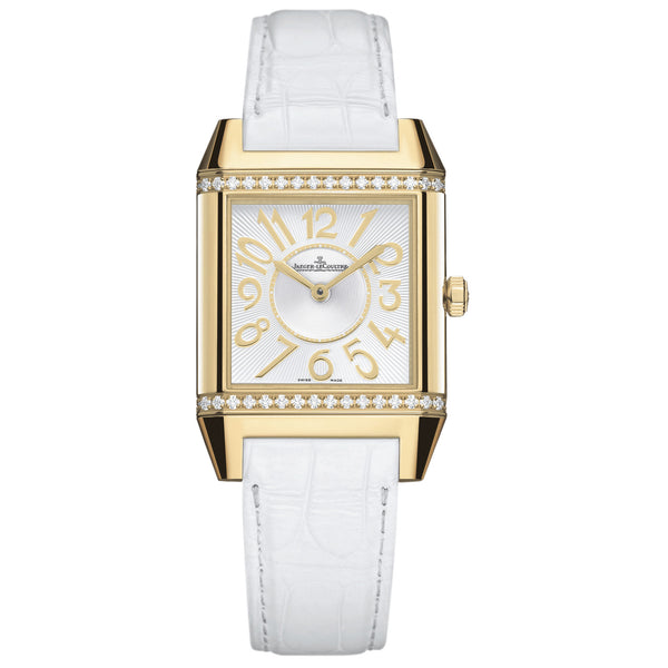 Reverso Squadra Silver Dial 18kt Yellow Gold White Leather Ladies Watch