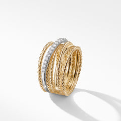 The Crossover Collection® Wide Ring with Diamonds in 18K Gold