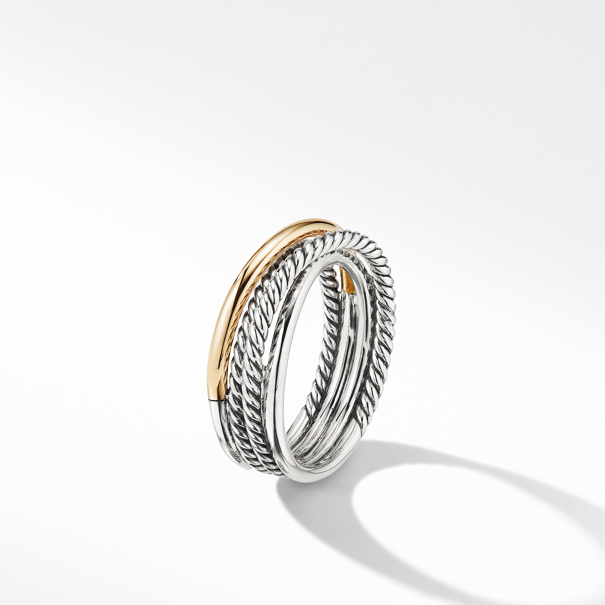 Crossover Narrow Ring with 18K Yellow Gold