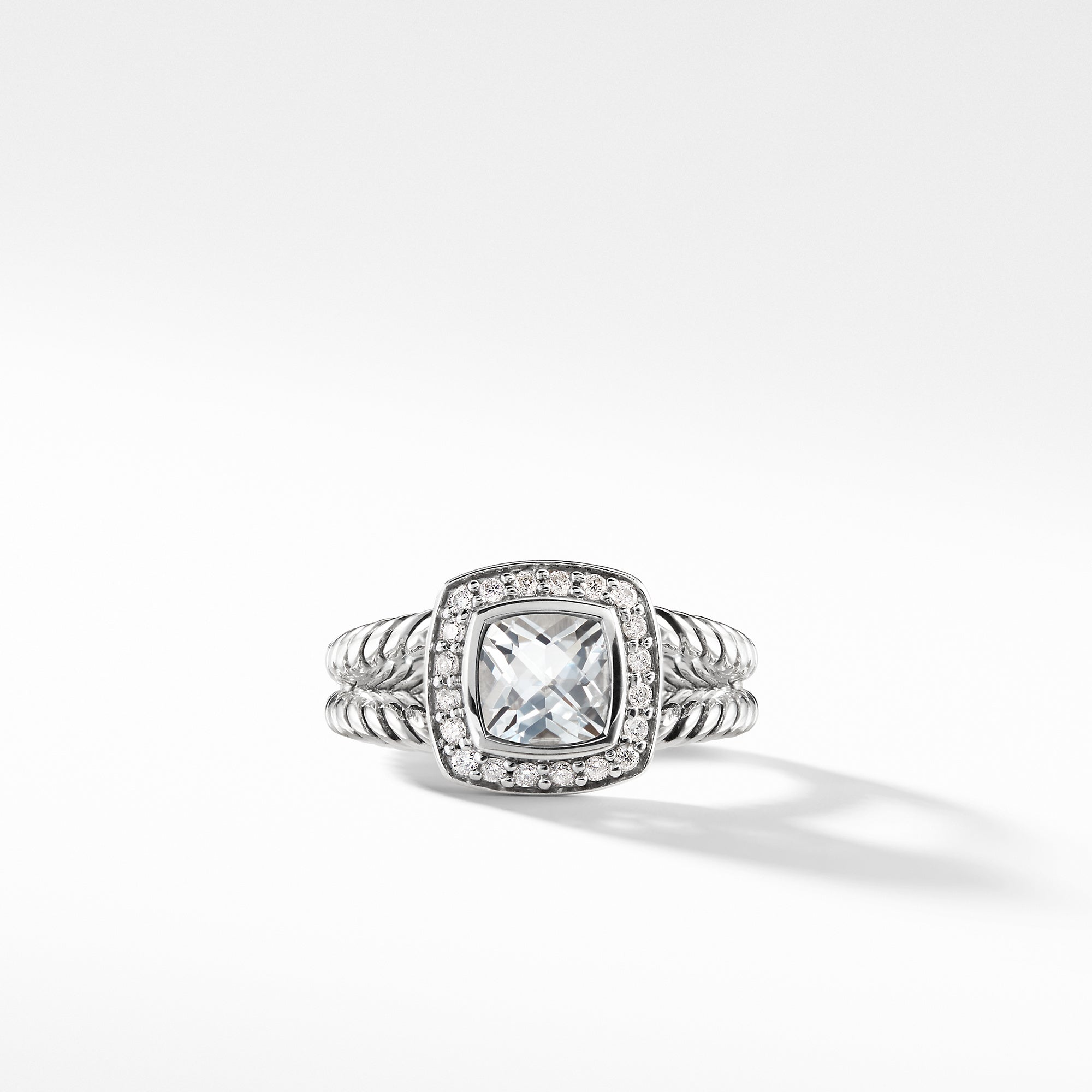 Petite Albion Ring with White Topaz and Diamonds