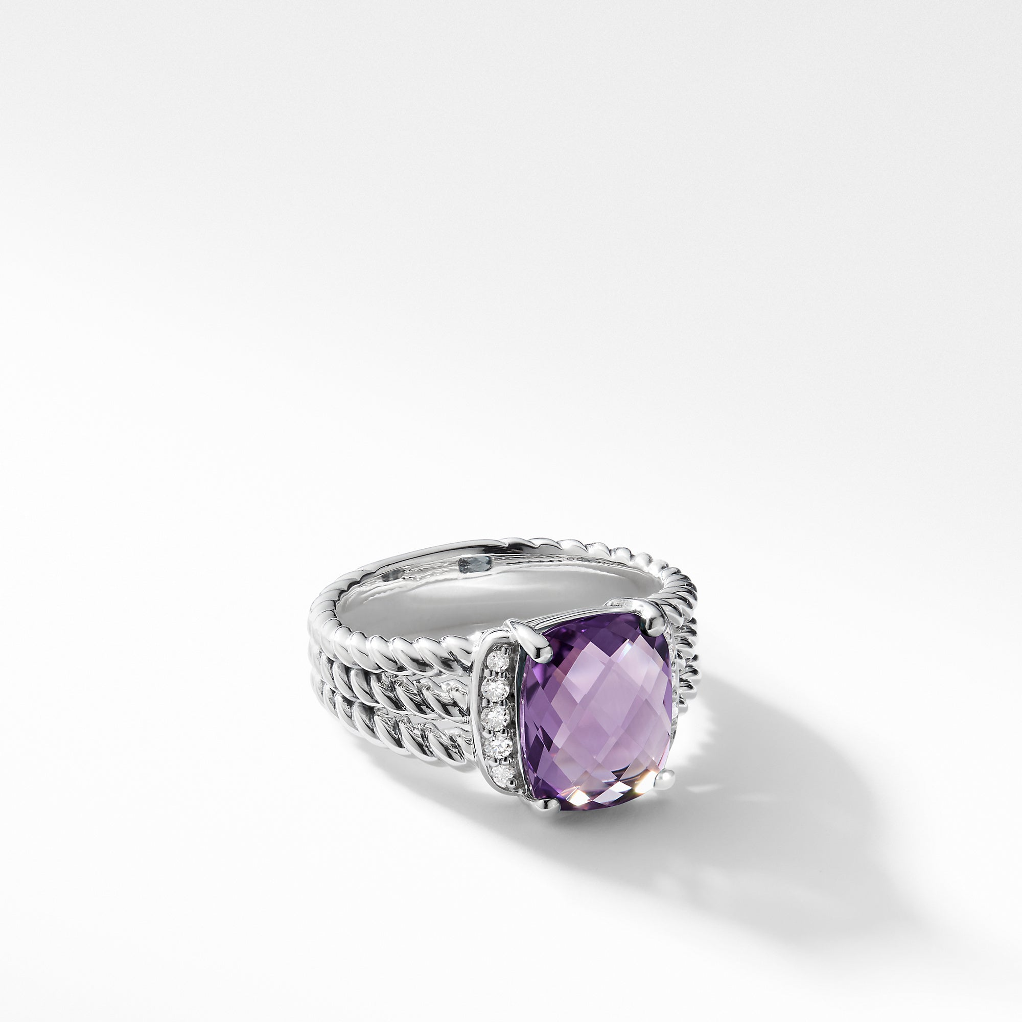 Petite Wheaton Ring with Amethyst and Diamonds