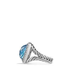 Ring with Blue Topaz and Diamonds