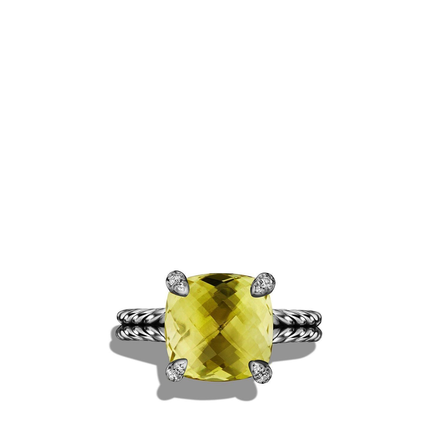 Ring with Lemon Citrine and Diamonds