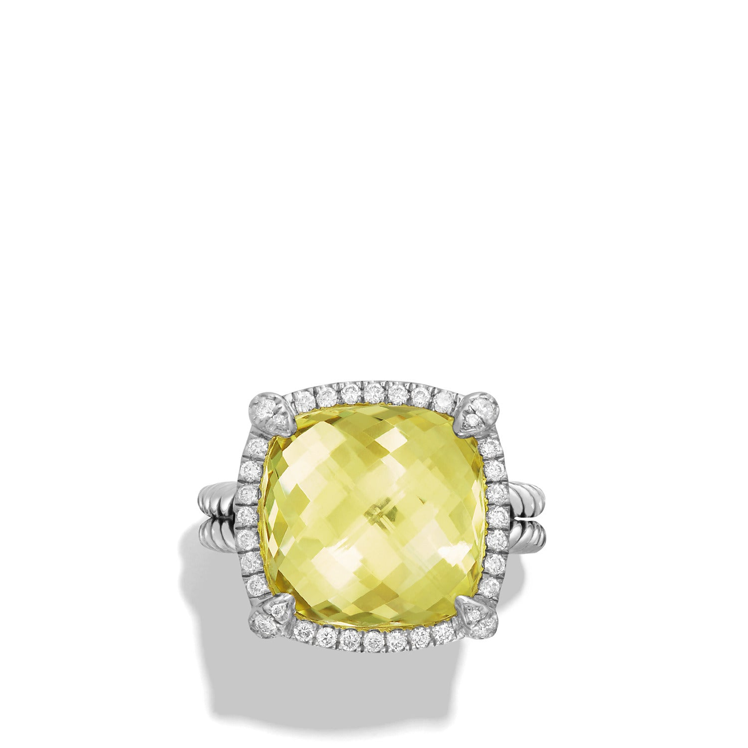 Chatelaine Pave Bezel Ring with Lemon Citrine and Diamonds, 14mm