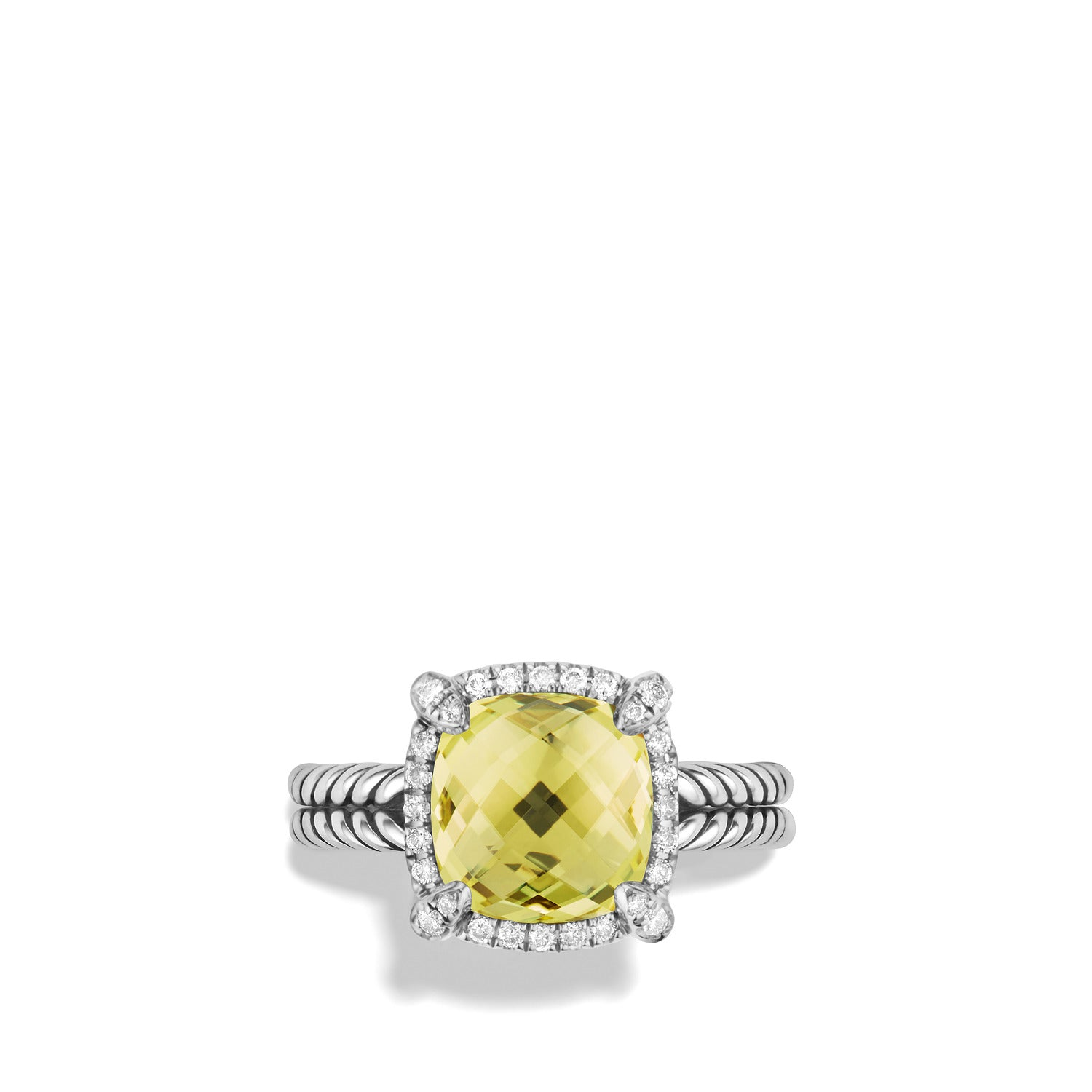 Chatelaine Pave Bezel Ring with Lemon Citrine and Diamonds, 9mm