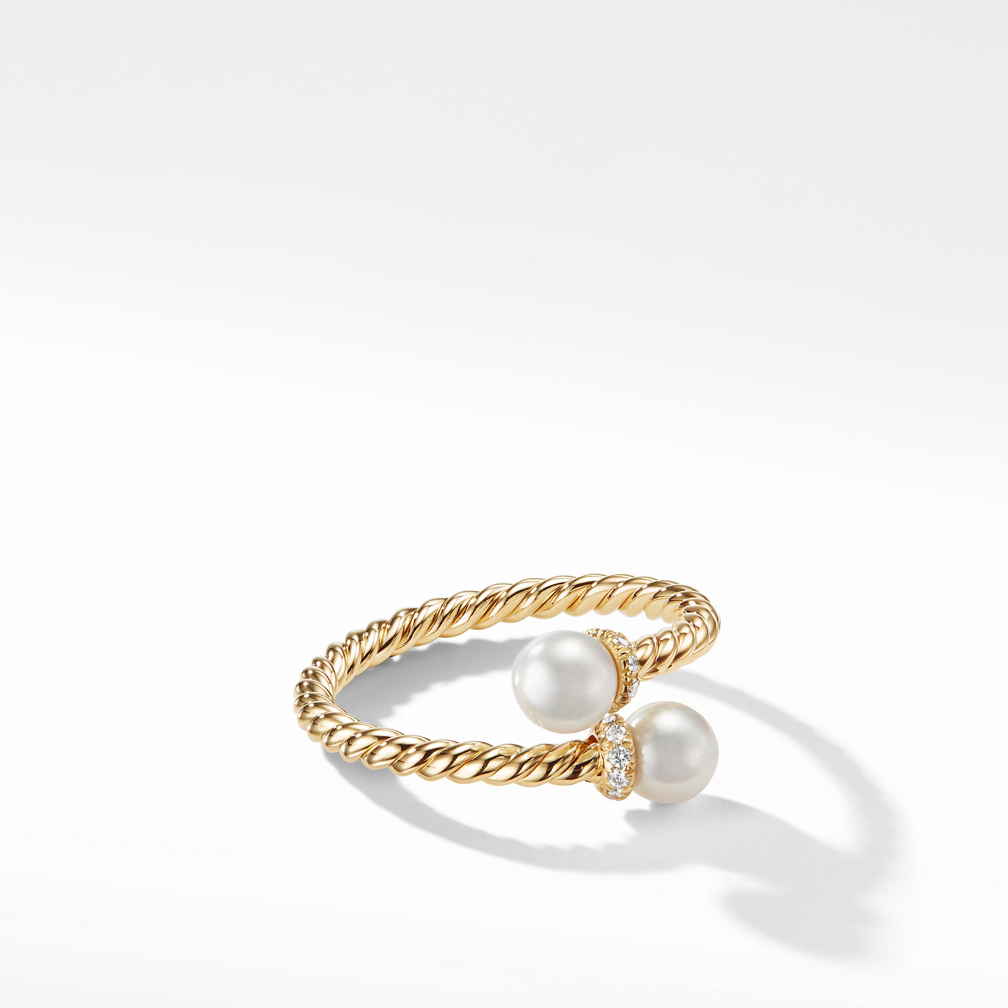 Petite Solari Bypass Ring with Diamonds in 18K Gold