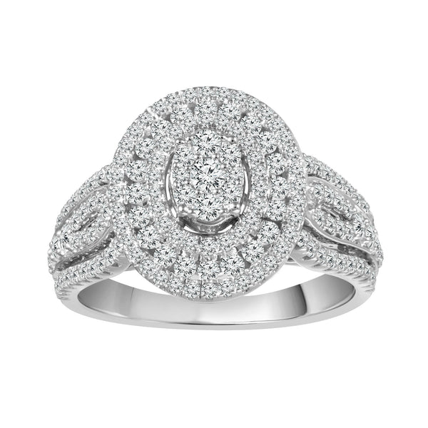 14K White Gold Diamond Halo Ring With Triple Band (1.00 ct. tw.)