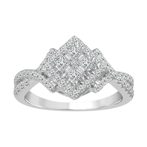 14KT White Gold Sideways Princess Shaped Cluster Diamond Ring with Twisted Band (0.60 ct. tw.)