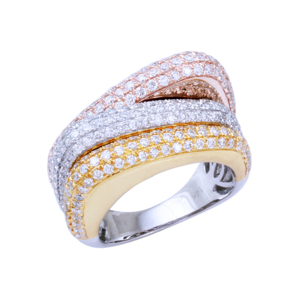 2.0 CTW Three Row Diamond Band Ring