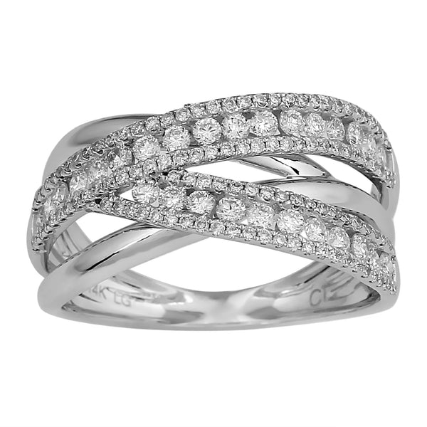 14K White Gold 0.85CTTW Lab Grown Diamond Multi-Row Crossover Ring