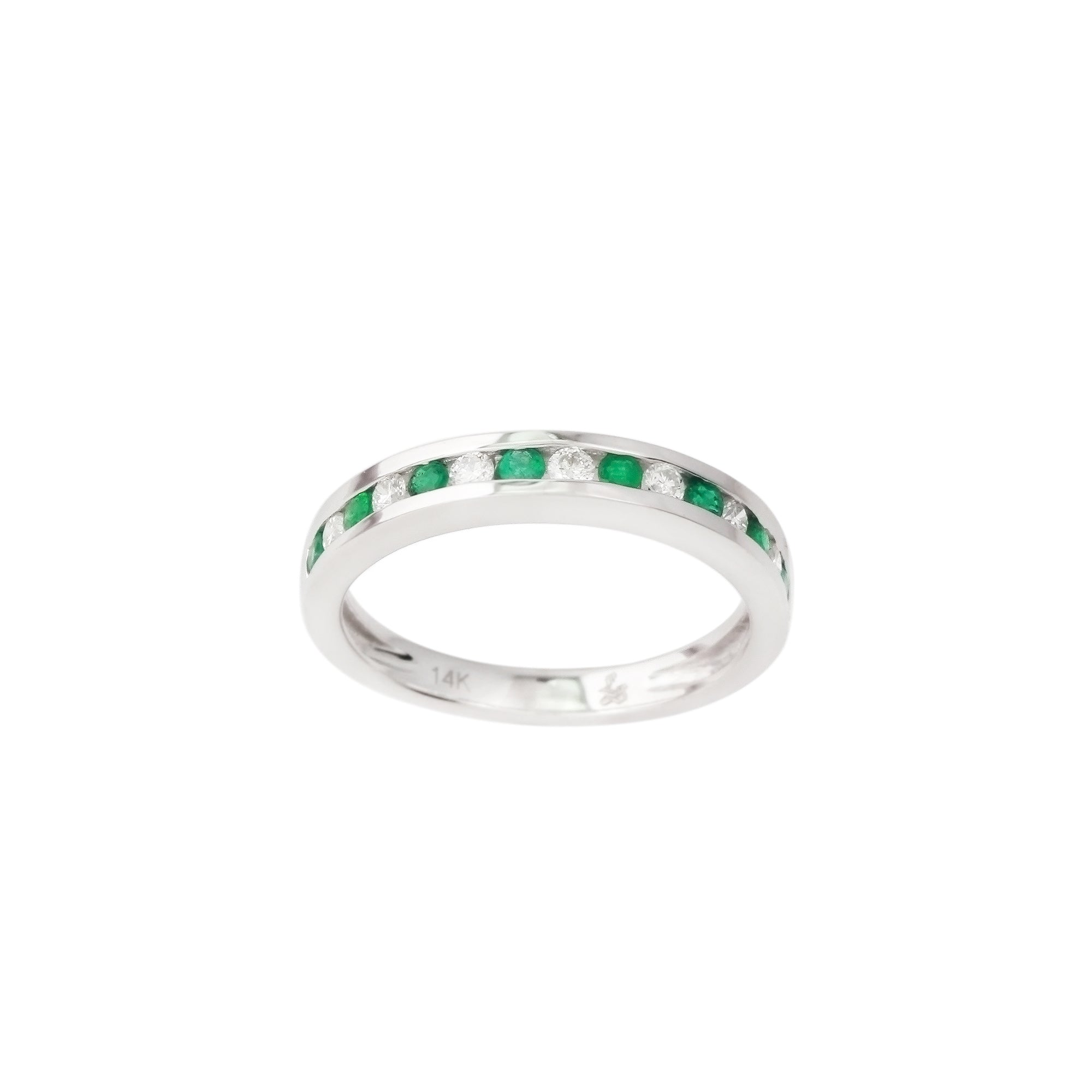 3.18 CTW Emerald and Diamond Band Ring