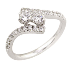 0.75 CTW Two Stone Diamond Band Ring