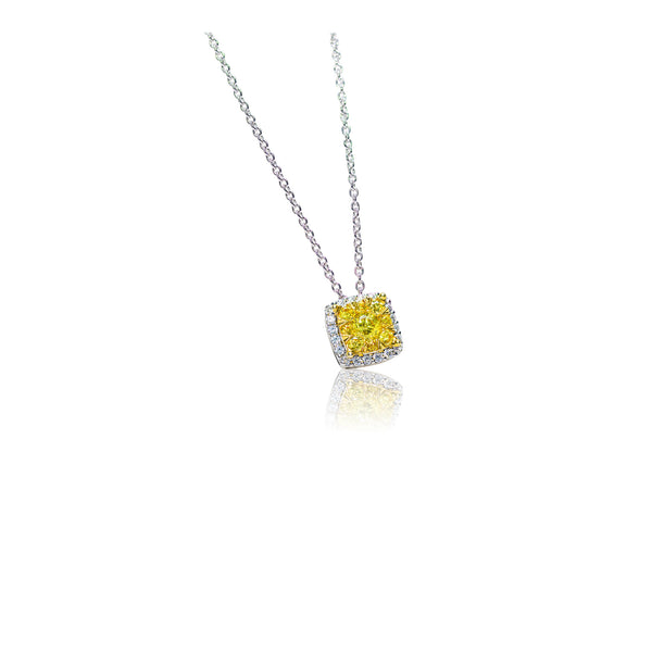 .85 CTW Yellow and White Diamond Cluster Necklace