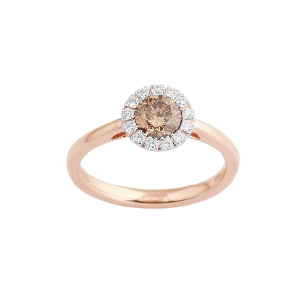 0.75 CTW Brown and White Round Diamond Ring