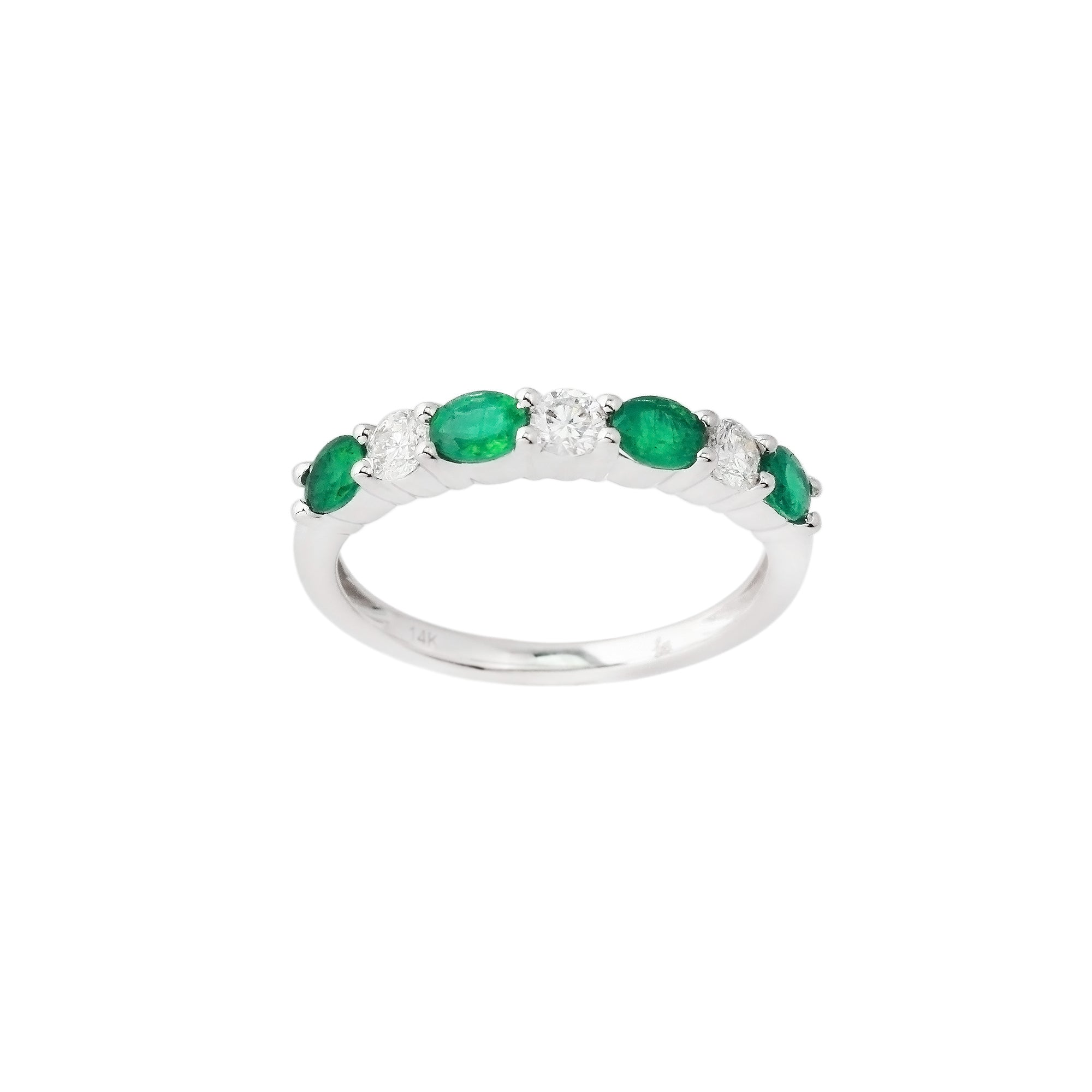 2.43 CTW Emerald and Diamond Band Ring
