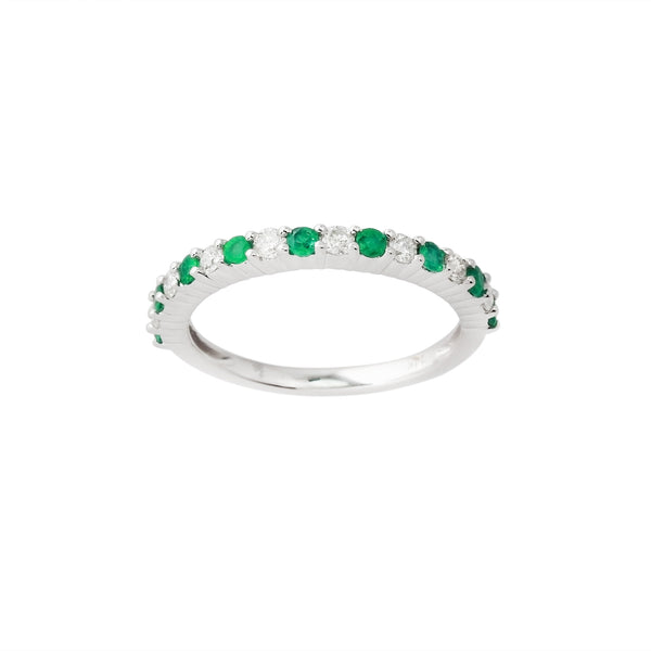 2.28 CTW Emerald and Diamond Band Ring