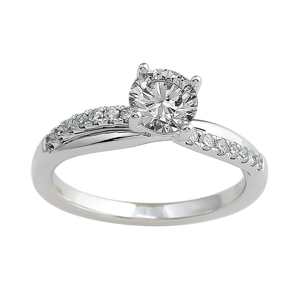 14K White Gold .20CTTW Lab-Grown Diamond Semi-Mount Ring