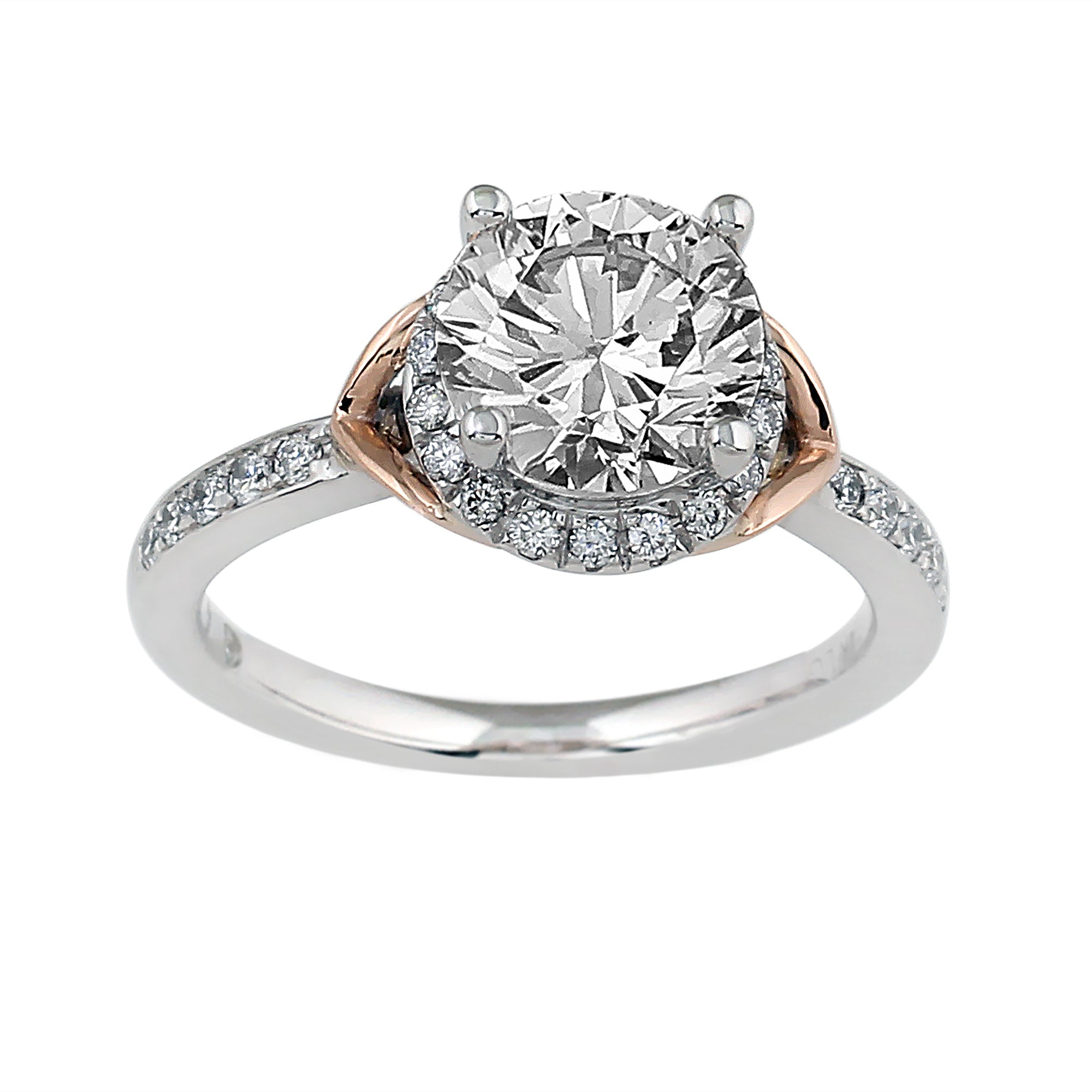 14K White Gold 0.30CTTW Lab-Grown Diamond Semi-Mount Ring Rose Gold Accent